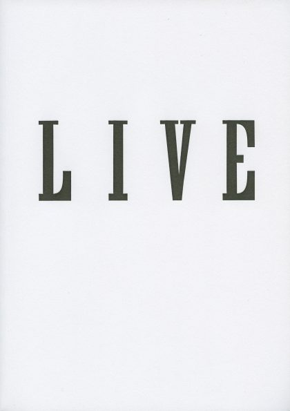 Cover of LIVE by Janice Kerbel, published by Occasional Papers