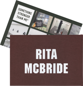 Back cover of Explorer, a log book of Rita McBride's work published by Occasional Papers with folded A3 insert